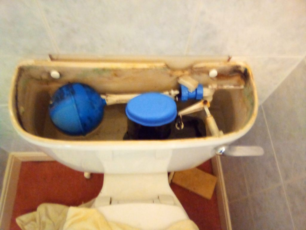 Ideal Standard toilet cistern with its lid off, showing the brand new syphon fitted by a A MacMillan Plumbers of East Kilbride