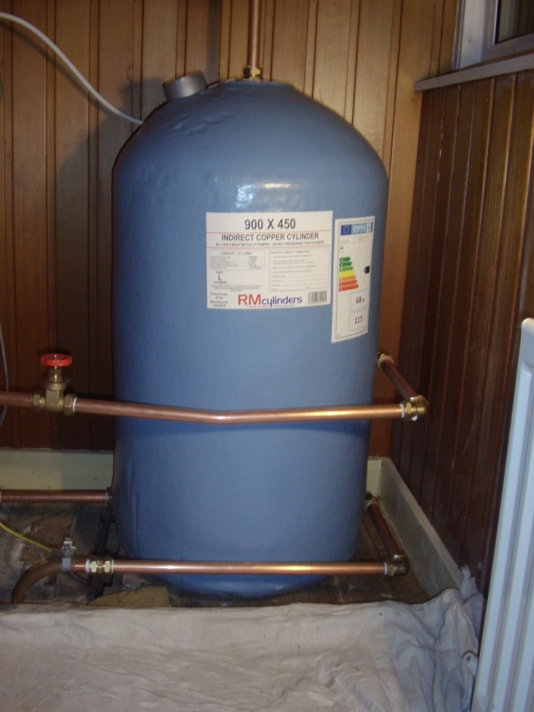 Plumbing Repairs East Kilbride - New copper indirect hot water cylinder supplied and fitted by A A MacMillan Plumbers to a property in Eaglesham